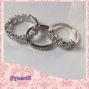 New 3 pcs Silver. Midi rings